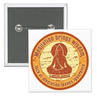 Sabiduría de la meditación de Buda Pin Cuadrado