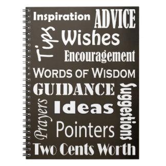Sabiduría de los consejos de la graduación notebook