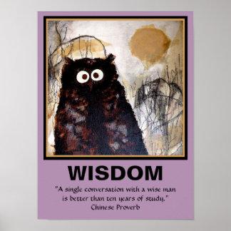 Sabiduría del arte del búho póster
