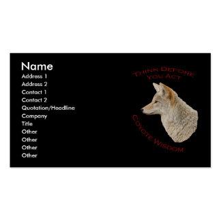 Sabiduría del coyote tarjetas de visita