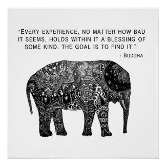 Sabiduría del elefante de la alheña de Buda Perfect Poster