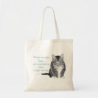 Sabiduría del gato - gente que odia gatos bolsa tela barata