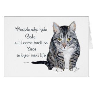 Sabiduría del gato - gente que odia gatos tarjeta de felicitación