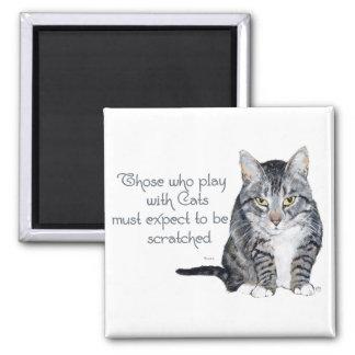 ¿Sabiduría del gato - jugando para ser rasguñado? Imán Cuadrado