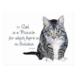 Sabiduría del gato - un gato es un rompecabezas tarjeta postal