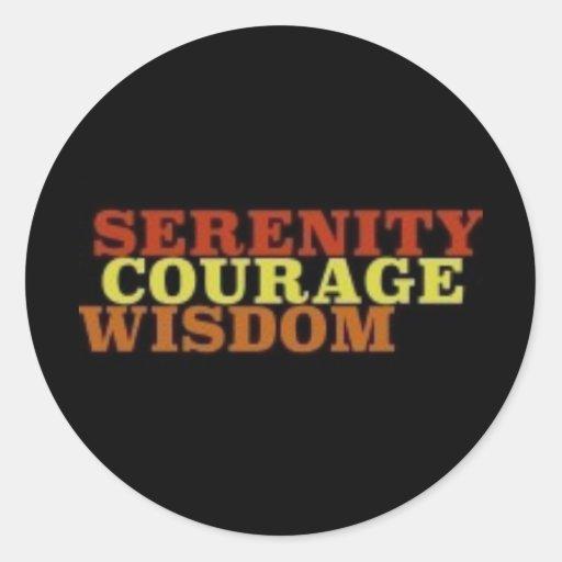 Sabiduría del valor de la serenidad pegatina redonda