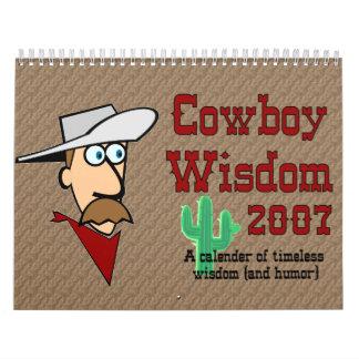 Sabiduría del vaquero calendario de pared