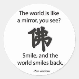 Sabiduría del zen - conseguimos lo que damos pegatina redonda