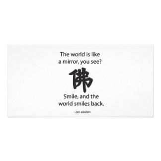 Sabiduría del zen - conseguimos lo que damos tarjetas fotograficas personalizadas