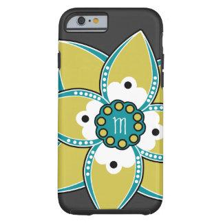 Sabio bonito y diseño azul del pétalo de la flor funda de iPhone 6 tough