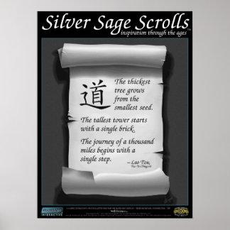 Sabio de plata Scrolls™ 002 Lao Tzu Metas Posters