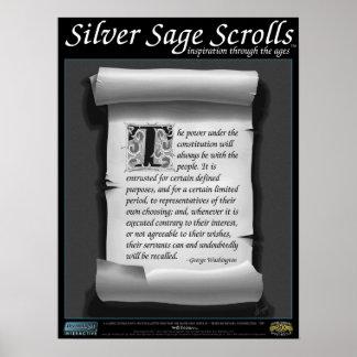 Sabio de plata Scrolls™ 010: Washington; Constituc Posters