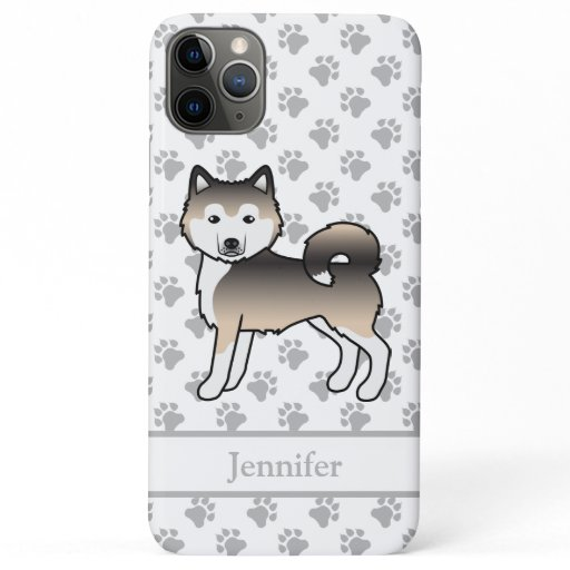 Sable Alaskan Malamute Cute Cartoon Dog & Name iPhone 11 Pro Max Case
