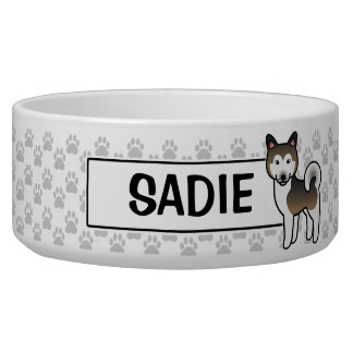 Sable And White Alaskan Malamute Cartoon Dog Bowl