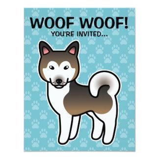 Sable And White Alaskan Malamute Cartoon Dog Card