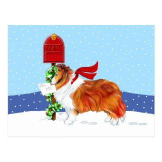 Sable del correo del navidad de Sheltie Tarjeta Postal
