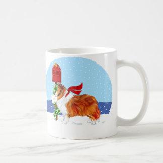 Sable del correo del navidad de Sheltie Taza De Café