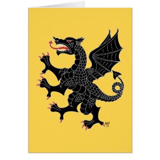 Sable desenfrenado del dragón tarjeta de felicitación