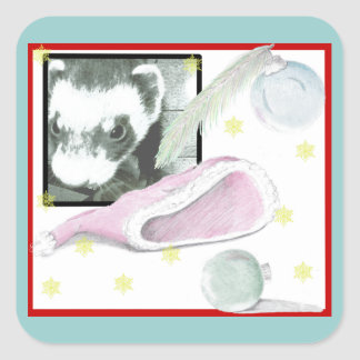 Sable Ferret Christmas Picture Square Sticker