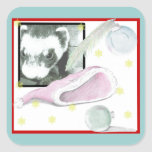 Sable Ferret Christmas Picture Square Stickers