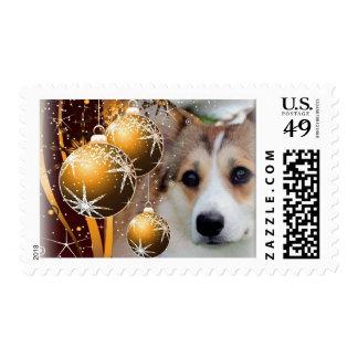 Sable Holiday Corgi Postage Stamp