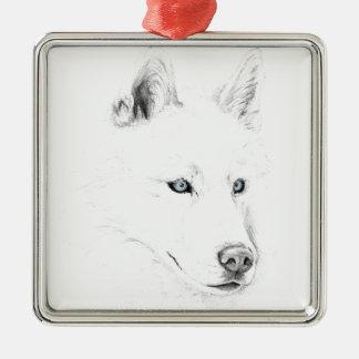 Sable ojos azules del husky siberiano de un arte adorno navideño cuadrado de metal