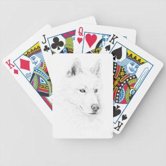 Sable ojos azules del husky siberiano de un arte baraja de cartas bicycle