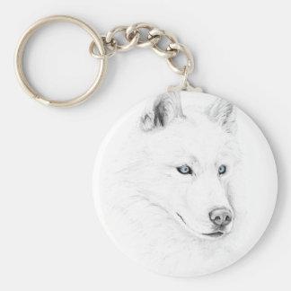 Sable ojos azules del husky siberiano de un arte llavero redondo tipo pin