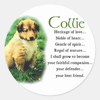 Sable Rough Collie Puppy Gifts Round Sticker