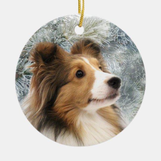Sable Sheltie Christmas Ceramic Ornament | Zazzle.com