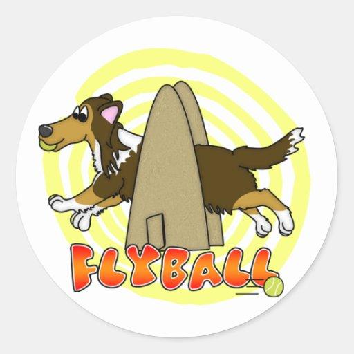 Sable Sheltie de Flyball Etiqueta Redonda