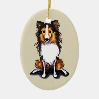 Sable Sheltie Shetland Sheepdog Sit Pretty Ceramic Ornament