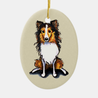 Sable Sheltie Shetland Sheepdog Sit Pretty Double-Sided Oval Ceramic Christmas Ornament