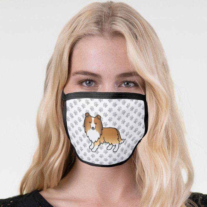 Sable Shetland Sheepdog Cartoon Dog Paws Face Mask Zazzle