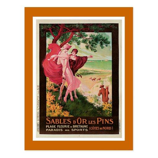 """Sables D'Or Les Pins, France"" Vintage Postcard"