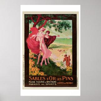 Sables D'Or Les Pins, France Vintage Poster