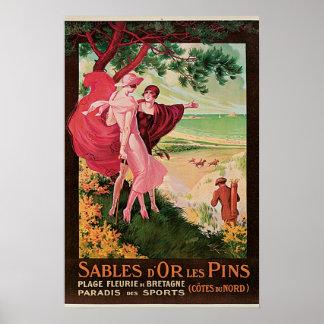 Sables dOr Les Pins Vintage Travel Poster