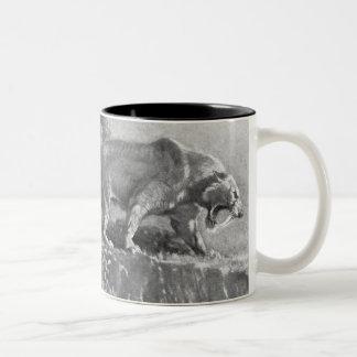 Sabre Tooth Tiger Antique Print Two-Tone Coffee Mug