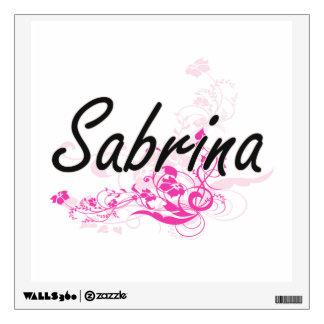 Sabrina Artistic Name Design with Flowers Wall Decor
