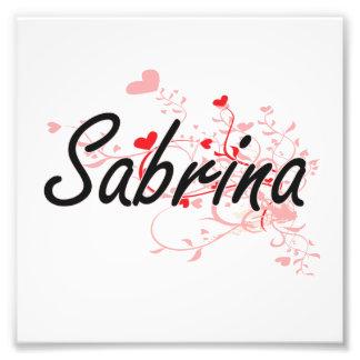 Sabrina Artistic Name Design with Hearts Photo Print