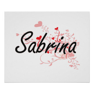 Sabrina Artistic Name Design with Hearts Poster