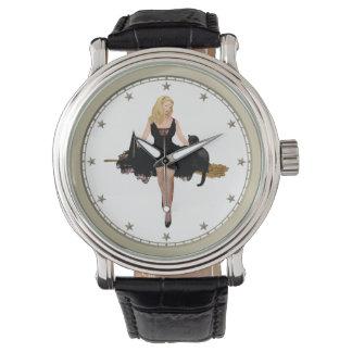 Sabrina la bruja adolescente en su escoba relojes de pulsera
