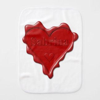 Sabrina. Red heart wax seal with name Sabrina Burp Cloth