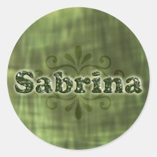 Sabrina verde pegatina redonda