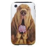 Sabueso (perro del St. Huberto) con los ojos cerra Tough iPhone 3 Fundas