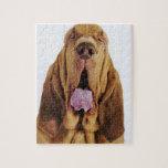 Sabueso (perro del St. Huberto) con los ojos Puzzle