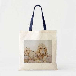 Sabuesos lindos del vintage, perros de perrito por bolsas lienzo