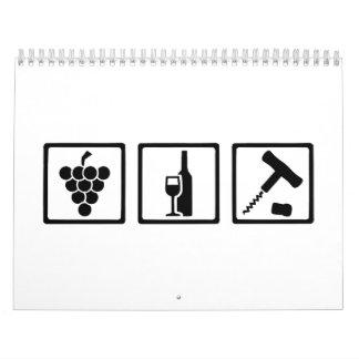 Sacacorchos de las uvas de vino del Vintner Calendario De Pared