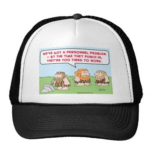 sacador del hombre de las cavernas en trabajo cans gorras de camionero