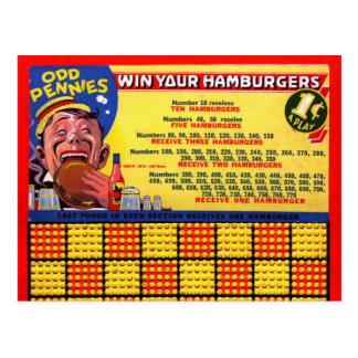 Sacador impar de los peniques de la hamburguesa postales